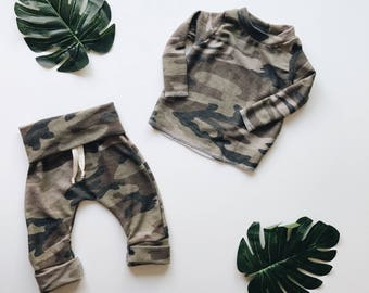 Baby Unisex shirt and pants set, Harem pants,going home outfit, Camo set, Modern cothes