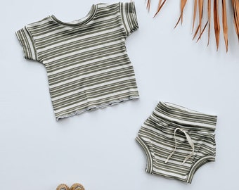 Baby Unisex shirt and pants set, Oversized tee and shorties , Vintage Olive Stripe set, Modern clothes