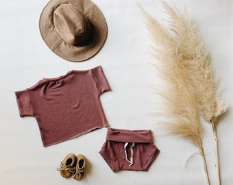 Baby Unisex shirt and pants set, Oversized tee and shorties ,Cranberry Vintage set, Modern clothes