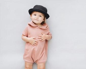 Kids playsuit, Summer Romper, Minimalist clothing, Coral  Romper