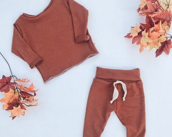 Baby Unisex shirt and pants set, Harem pants, Long sleeve tee, Modern cothes, rust sweater set