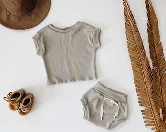 Baby Unisex shirt and pants set, Oversized tee and shorties , Mushroom  thermal set, Modern clothes