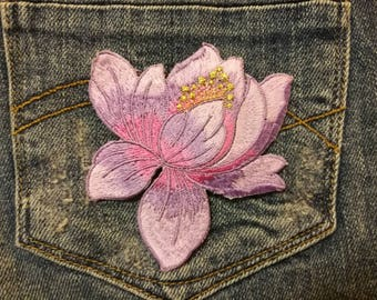 lotus flower patch, colorful patches, iron on appliques, iron on patch, diy appliques, floral patch, nature theme patch
