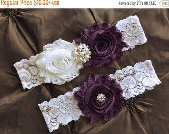 9d16855b0c8 ON SALE Plum Garter- Wedding Garter- Plum Garter Set- Ivory Lace Garter-  Garter- Bridal Garter-Bridal Garter Set- Garter Belt-Garter