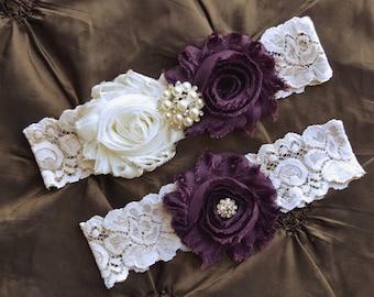 941d0692793 Plum Garter- Wedding Garter- Plum Garter Set- Ivory Lace Garter- Garter-  Bridal Garter-Bridal Garter Set- Garter Belt-Garter