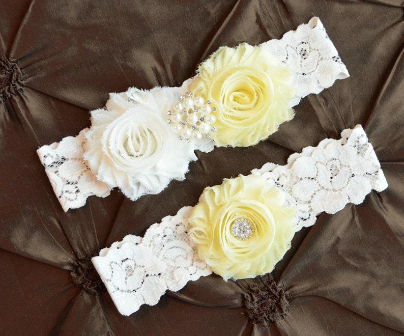 Wedding Garter Ivory Garter Keepsake Garter Toss Garter Ivory Lace Garter Bridal Garter Set Shabby Chiffon Light Yellow Wedding Garter