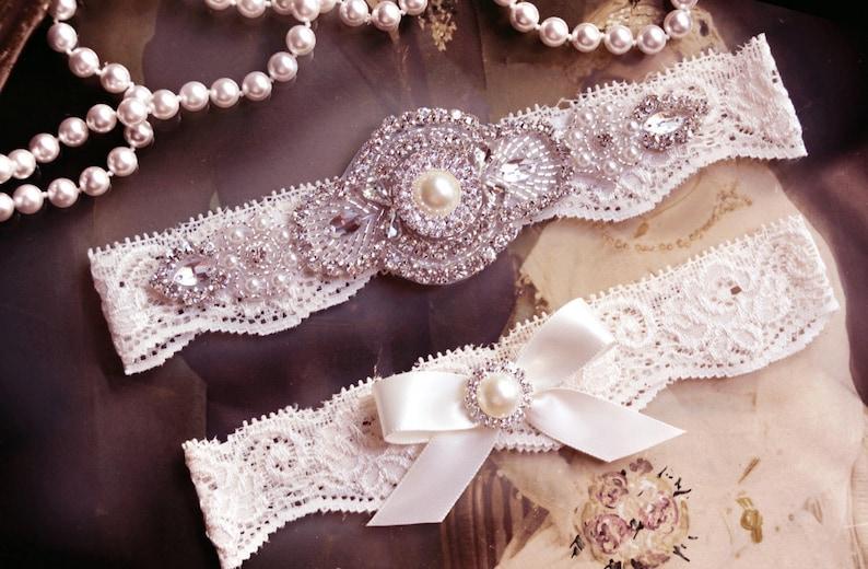 Ivory Lace Garter Bridal Garter Toss Garter Ivory Bridal Garter Ivory Garter Wedding Shabby Chiffon Rosette Ivory
