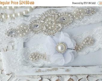 ON SALE Wedding Garter, Wedding Garter Set, Bridal Garter Set, Pearl Garter, Jeweled Garter,  Stretch Lace Garter, White Flower Garter