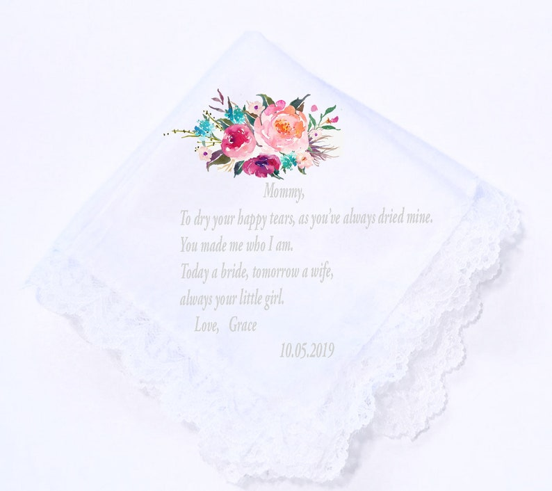 Wedding Handkerchief CUSTOMIZED PRINTED Wedding Hankies-Gift for Mom Mother of the Bride Gift