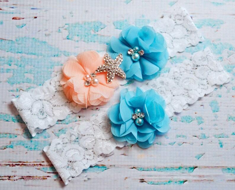 Light Peach and Turquoise Garter Set Lace Garter Blue Wedding Garter Bridal Garter Wedding Garter Toss Garter Keepsake Garter