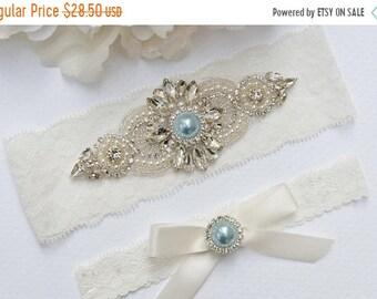 ON SALE Something Blue Bridal Garter Set, Crystal Rhinestone Pearl Keepsake / Toss Garters, Ivory / White Stretch Lace Wedding Garter,  Styl