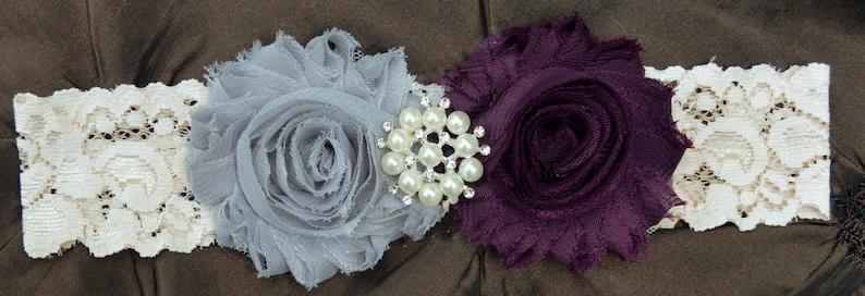 Plum Wedding Garter Bridal Garter Set Toss Garter Ivory Lace Garter Keepsake Garter Shabby Chiffon Rosette Plum /& Gray Wedding