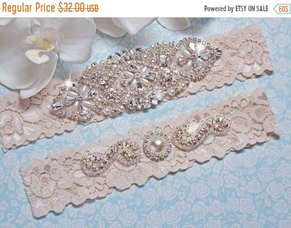 fd07f3504ed ON SALE Wedding Garter Garter Set IVORY Bridal Garter