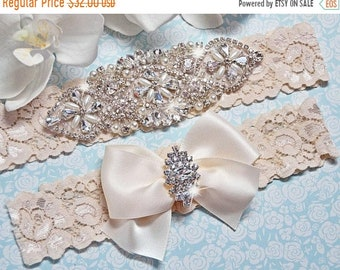 ON SALE Ivory Bridal Garter Set, Crystal Rhinestone Pearl Keepsake / Toss Garters, White / Ivory Stretch Lace Wedding Garter, FifthAvenueBri