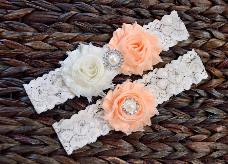 Lace Bridal Garter Light Peach and Ivory Wedding Garter Set Ivory Wedding Garter Set Rustic Wedding Garter Set-Style 115 Rustic Wedding
