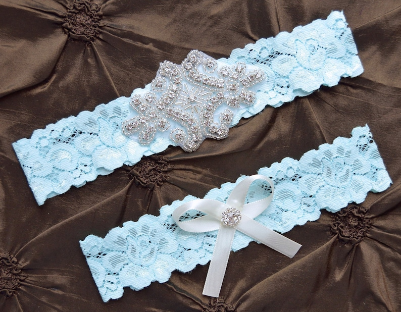 2dd450f9b Something Blue Wedding Garter Blue Garter Set Blue Bridal