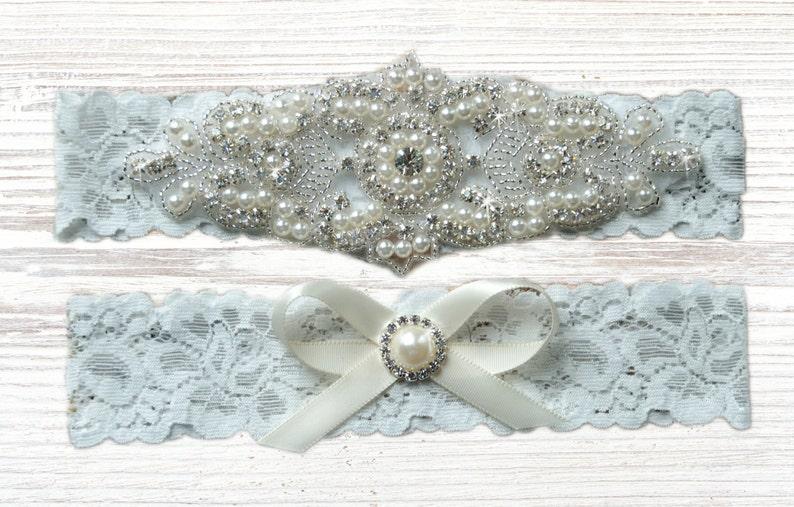 Bridal Garter Catherine Style 10822 Crystal Rhinestone Garter with Pearls Pearl Wedding Garter Set White Lace Garter