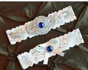 ON SALE Wedding Garter-Bridal Garter-Garter-Blue Garter-Garter Belt-Something Blue-Rhinestone Garter-Vintage Garter-Pearl-Ivory Lace Garter-