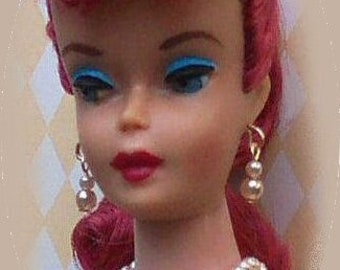 Dreamz PINK PEARL EARRINGS Nylon Stud Posts Doll Jewelry REPRO made for Barbie