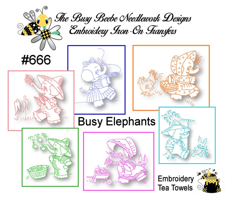 93718c33a3c32d Busy Elephant Embroidery Iron On Transfer Motifs Kitchen | Etsy