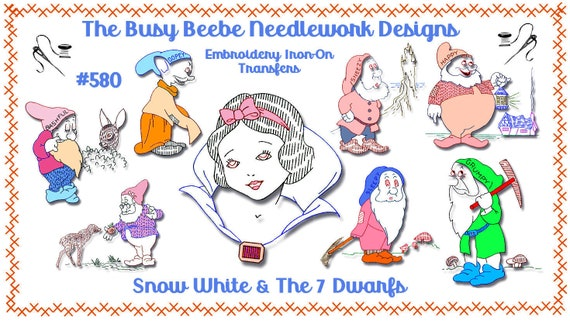 snow white large motif patch transfer applique design