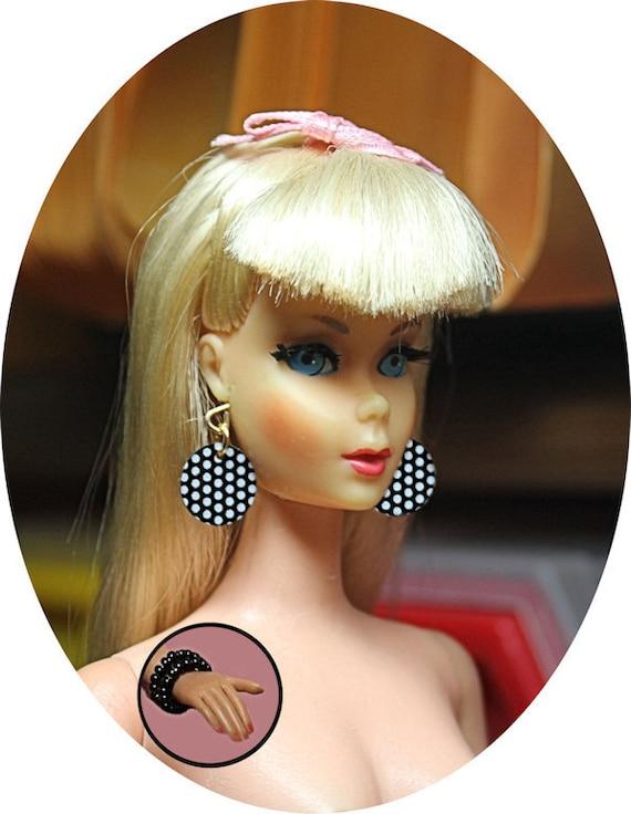 Black /& White Polka Dot Earrings /& Bracelet Made For Barbie MOD Doll Jewelry