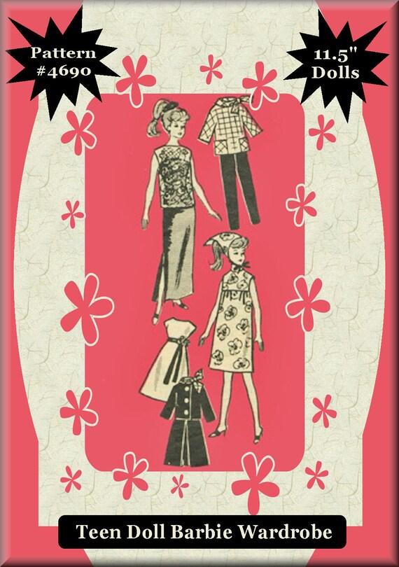 """4690 Doll Wardrobe Pattern Fits Barbie Dolls 11-1//2/"""""""