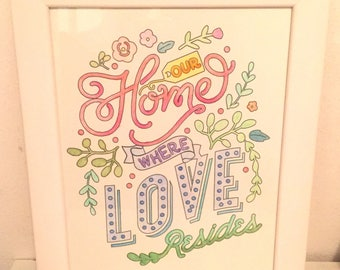 Watercolor painting with white frame