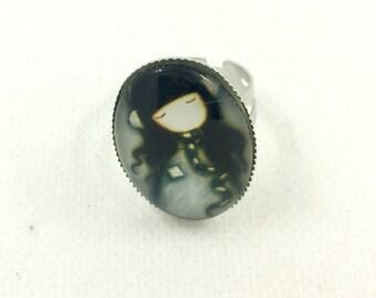 Adjustable ring Santoro Gorjuss Color Silver