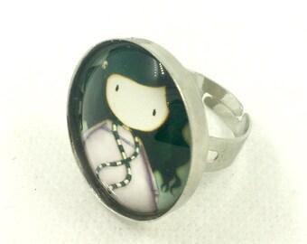 Santoro Gorjuss silver-coloured round adjustable ring