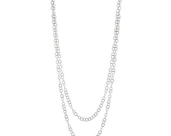 Long silver chain. Long layering necklace. Simple silver chain. Silver long chain. Handmade silver chain. Silver circles necklace.