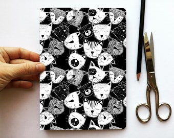 Cahier/Black Notebook CHATS, A5, recycled paper, 48 white pages