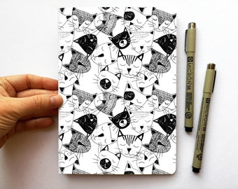 Cahier/White Notebook CHATS, A5, recycled paper, 48 white pages
