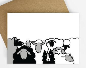 At The Farm Card, Farming, Sheep Dog Card, Blank inside, Illustrated Greeting Card