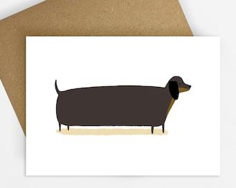 Dachshund Card, Sausage Dog, Doxie, Blank inside, Illustrated Greeting Card, A6 Dog Card