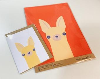 Chihuahua Dog Print, Art Print & Card Bundle, Dog Art Print, Orange, Cute, Art, Pet Portrait, Art Print FREE A6 CARD