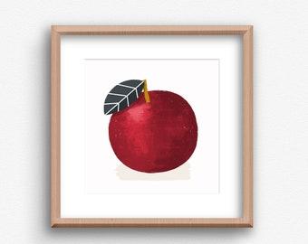Contemporary Apple Print,  Apple Square Art , Contemporary Art Print, Kitchen wall art, Kitchen Fruit Print, Modern Kitchen Art