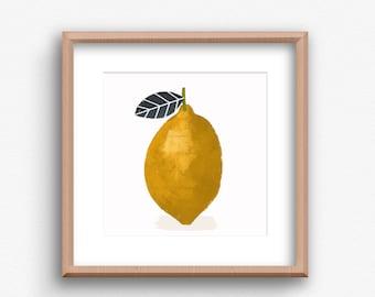 Contemporary Lemon Print,  Lemon Square Art , Contemporary Art Print, Kitchen wall art, Kitchen Fruit Print, Modern Kitchen Art