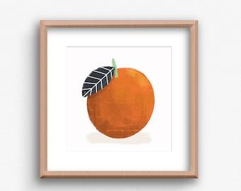 Contemporary Orange Print,  Orange Square, Contemporary Art Print, Kitchen wall art, Kitchen Fruit Print, Modern Kitchen Art