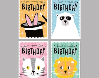 kids birthday card pack kids party cards childrens birthday card cute animal illustration happy birthday greeting card pack