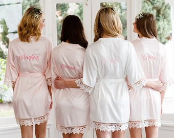 Lace Bridal Robe   Bridesmaid Robes   Robe   Bridal Robe   Bride Robe   Embroidered  Robe   Bridesmaid Gifts   Monogram Satin Robe   f2eac7f19