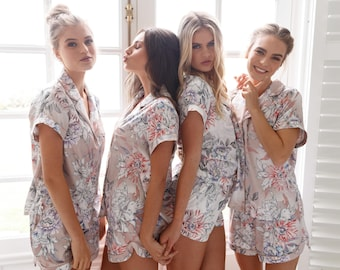 1740d05e88 Bridesmaid pajamas   Bridesmaid PJs   Bridesmaid Gift   Pyjamas   Bridal PJS    Bridal   Satin Shorts   Bridesmaid Robes  Powder Bloom Set