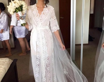 5a38dfcc14f9a7 Lace Bridal Robe    Bridesmaid Robes    Robe    Bridal Robe    Bride Robe     Bridal Party Robes    Bridesmaid GiftsMAXI LUXE