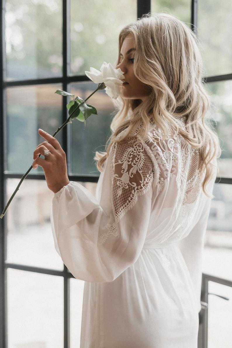 Lace Maxi Robe / Lace Bridal Robe / Bridesmaid Robes / Robe / image 0
