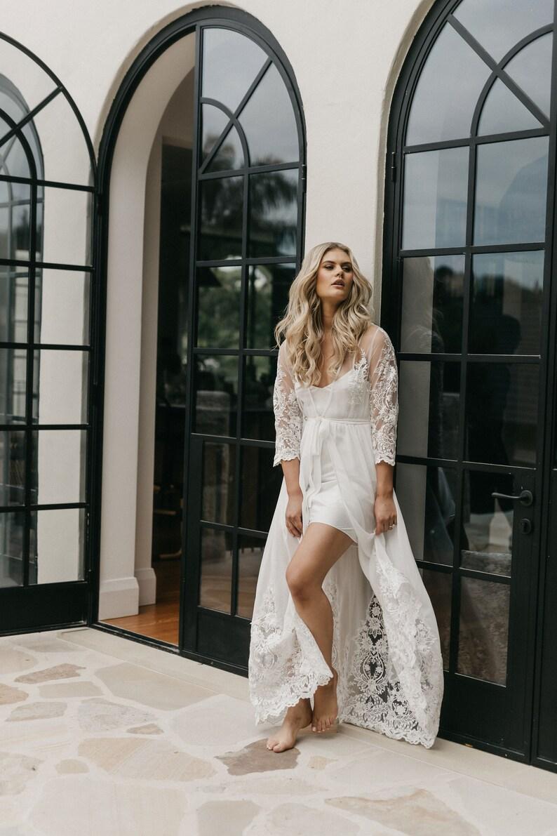 Lace Trim Maxi  Lace Bridal Robe  Bridesmaid Robes  Robe  Bridal Robe  Bride Robe  Bridal Party Robes  INAYA