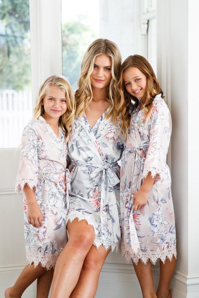Flower Girl Robe // Bridal Robe // Bride Robe // Bridal Party Robes // Bridesmaid Gift // Silky Robe // Satin Robe // Robe // Powder Bloom