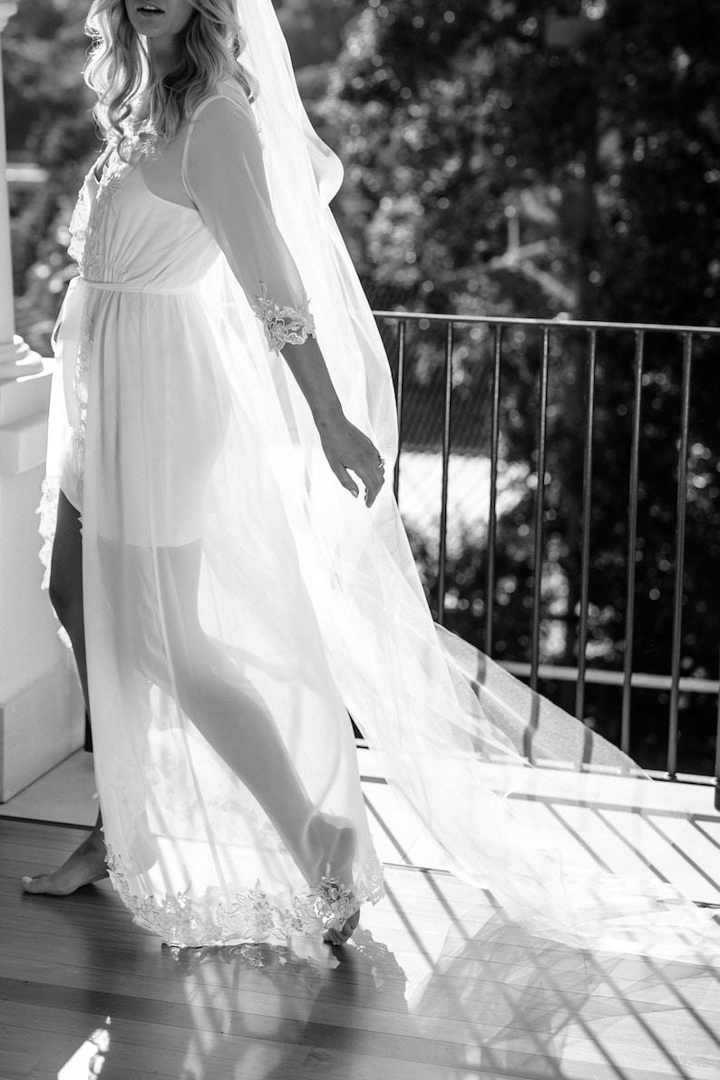 Lace Trim Maxi  Lace Bridal Robe  Bridesmaid Robes  Robe  Bridal Robe  Bride Robe  Bridal Party Robes  IRIS