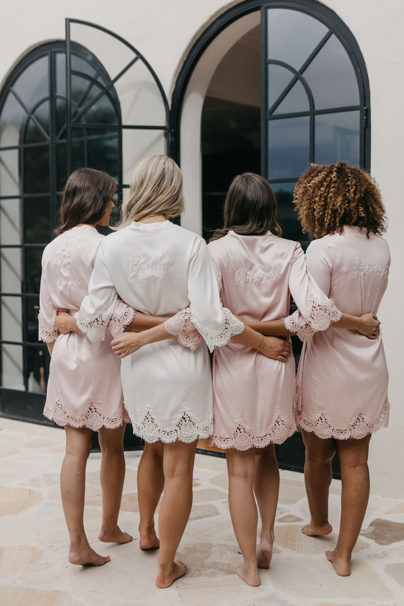 Bridesmaid Robes // Lace Bridal Robe // Bridal Robe // Bride image 9