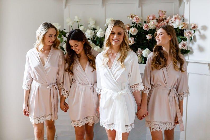 Lace Bridal Robe // Bridesmaid Robes // Robe // Bridal Robe // Champagne