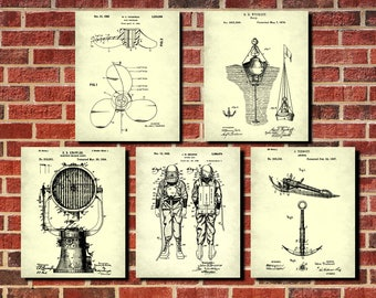 Nautical Decor, Diving Wall Art, Sailing Patent Prints, Set 5 Nautical Decor Posters, Diver Gift, Boating decor, Vintage Nautical Posters
